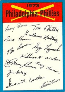 1973 Topps Checklists - Phillies