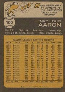 1973 topps hank aaron back