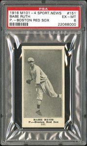 Babe Ruth rookie M101-4 PSA 6