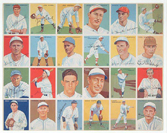 Autographed 1933 Goudey sheet