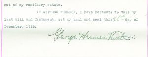 George Herman Ruth last will signature