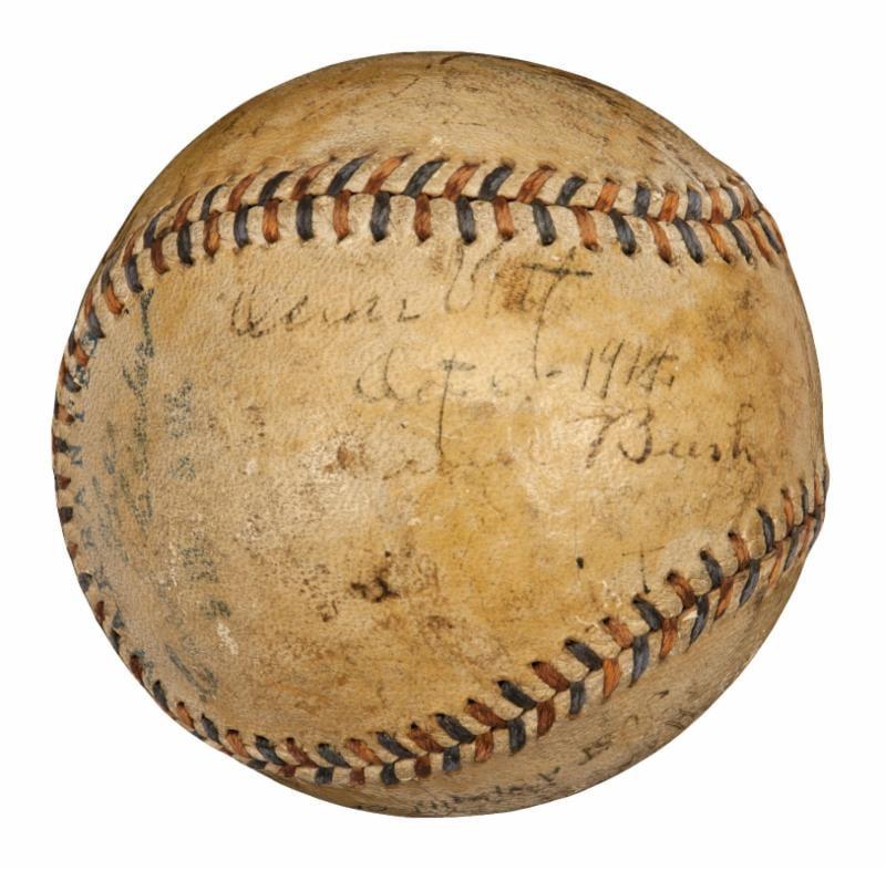 Babe Ruth Ty Cobb signed baseball 1915
