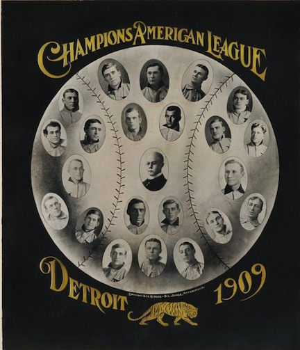 Stunning composite design of the 1909 Detroit Tigers including Ty Cobb in his 'T206-pose'