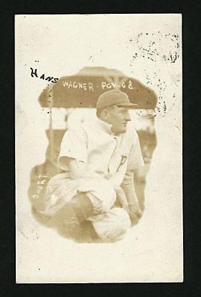 A bizarrely designed vignette real photo postcard of Honus Wagner