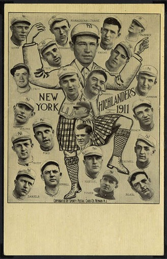 Wildly designed postcard of the 1911 New York Highlanders (Yankees), incorporating cutout photographic heads and sketching.  The large central figure in kilt is Hal Chase.