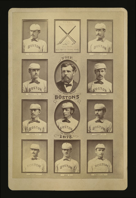 Cabinet card of the 1878 Boston Bostons with George and Harry Wright.  The individual photos were placed behind a paper cutout then rephotographed.