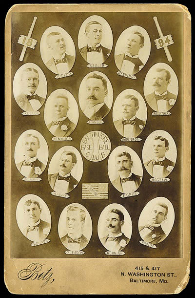 Cabinet Card of the 1894 Baltimore Orioles.  Composite photos was a common design for team photos.
