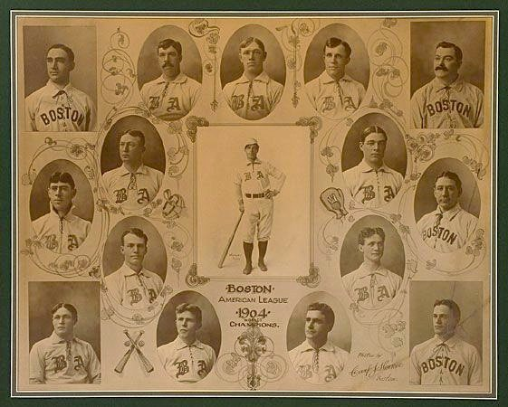 Composite photo of the 1904 Boston Red Sox by the famed photographer Carl Horner.  It includes small photos and artistic designs and text.