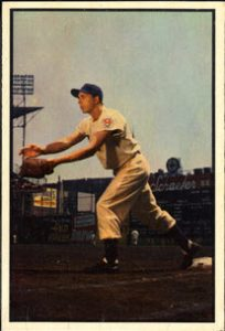 Gil Hodges 1953 Bowman Color baseball card