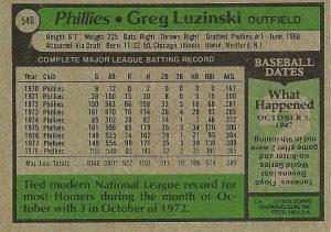 Back 1979 Topps Greg Luzinski