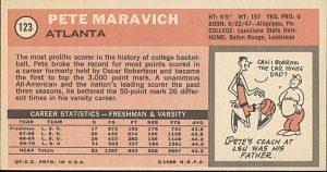 Back Pete Maravich rookie card