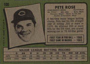 1971 topps pete rose back