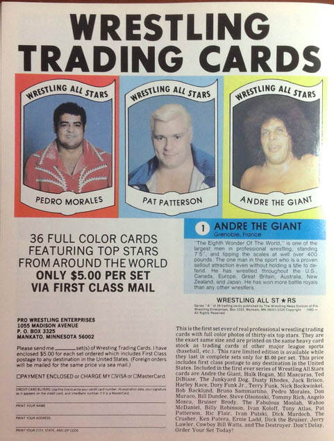 Wrestling News Trading Card ad 1982