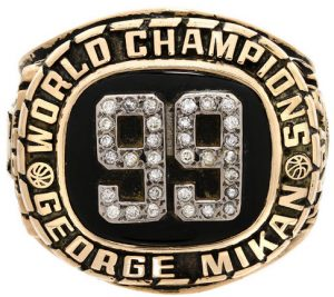 George Mikan Minneapolis Lakers championship 99 ring
