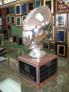 Shiny silver plated football trophy