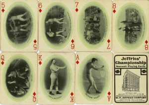 1909 James Jeffries play8ing cards of boxers. The came in a boxed deck as with any deck of playing cards.
