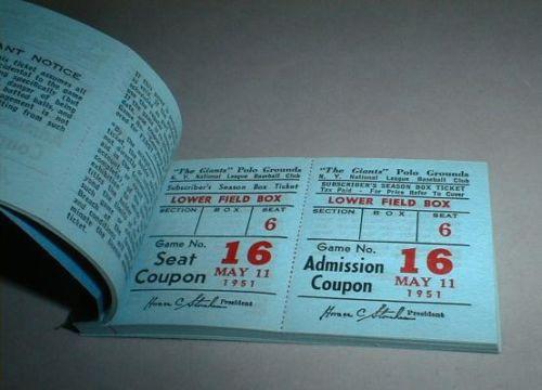 1951 New York Giants baseball tickets