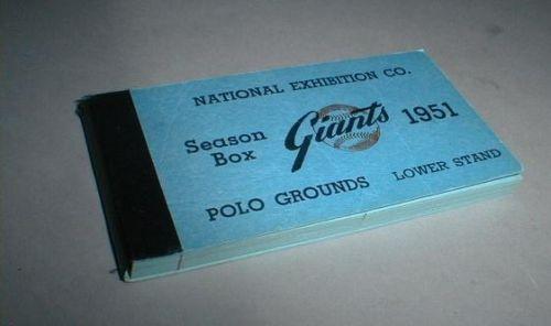 1951 New York Giants ticket book