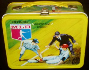 Most kids had a lithographed metal lunch box.  This one is from 1968.