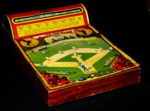 A 1920s two-person baseball game made of wood and lithographed tin