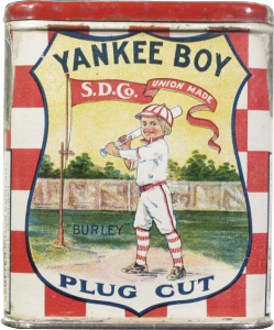 Yankee Boy tobacco tin.  For metal objects, they would print on flat metal, then bend the metal into the shape.