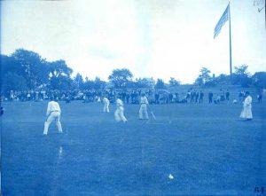 Antique cyanotype of cricket match