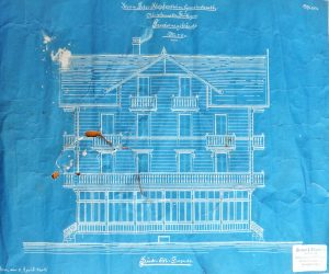 Bluprints, such as this 1902 one of house plans, are cyanotype photographs