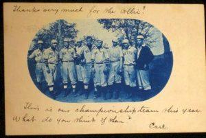 1906 cyanotype real photo postcard of a baseball team