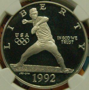 1992 U.S. Mint Baseball coins Olympics silver dollar proof
