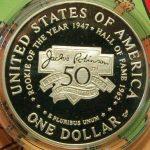 Jackie Robinson U.S. Mint Baseball coins commemorative silver dollar proof reverse