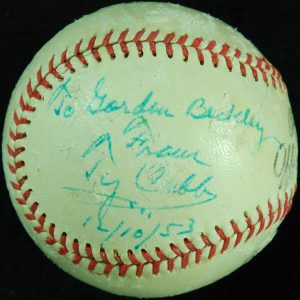Autographed Ty Cobb baseball