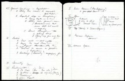 Hand-written notes 1992 Dream Team coach Chuck Daly