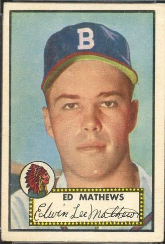 Eddie Mathews 1952 Topps baseball rookie card