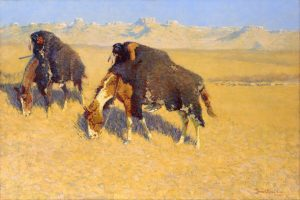 Remington's more familiar Old West subject matter: an oil showing American Indian fighters camouflaging themselves as buffalo