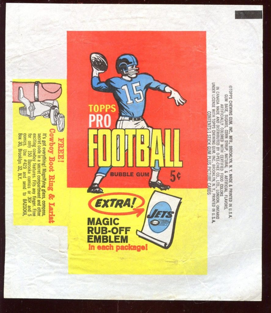 Topps 1965 football wrapper
