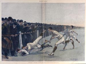 Collision at the Ropes, 1890.  This is Remington'a most famous football image, with this print colored by a collector