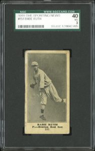 Babe Ruth Sporting News rookie card 1916