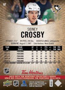 Sidney Crosby Tim Hortons card back
