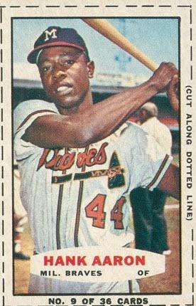 Hank Aaron 1965 Bazooka baseball card