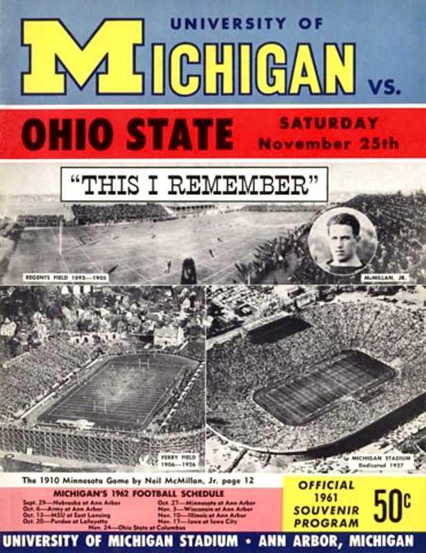 Ohio State vs Michigan 1961 program