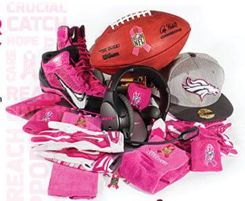 NFL pink game worn memorabilia