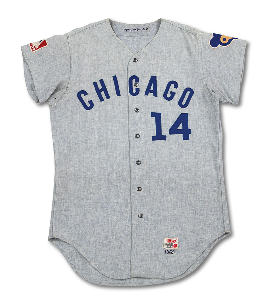 1969 Ernie Banks road game jersey