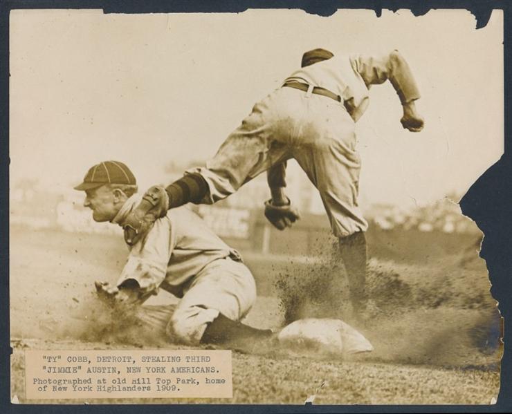 Ty Cobb sliding Charles Conlon photograph