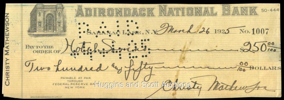 Signed Christy Mathewson check