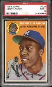 Hank Aaron rookie card 1954 Topps PSA 9