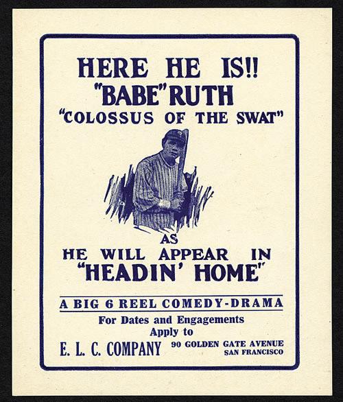 Advertising card Babe Ruth'Headin' Home