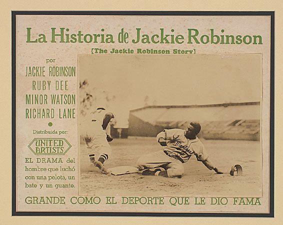 1950 Spanish language lobby card The Jackie Robinson Story