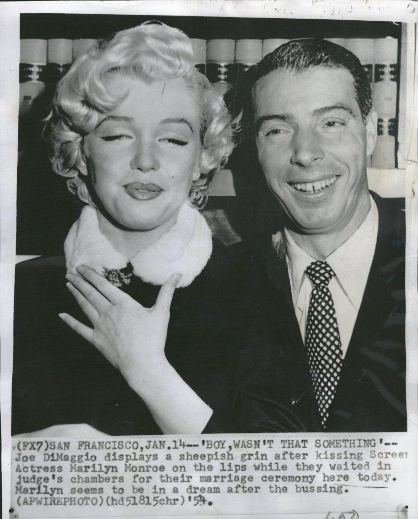 1954 Associated Press wirephoto Joe DiMaggio Marilyn Monroe marriage