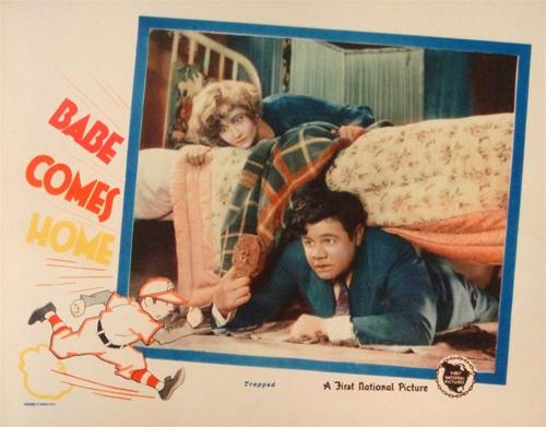 Lobby card 1927 Babe Comes Home movie