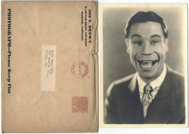 Joe E. Brown fan photo faux signature original mailing envelope